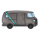 Black Van with blue stripe