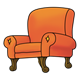Overstuffed Orange Chair with wooden legs