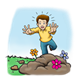 Distressed Boy running to pile of dirt with flowers