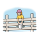 Girl on Fence Rail holding bucket