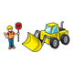 Wheel Loader with construction worker holding a stop sign