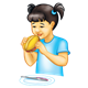Girl Eating Sandwich jam sandwich with plate and knife
