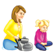 Mom and Daughter sitting with backpack