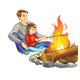 Dad and Son roasting hot dogs over the fire