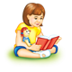 Girl Reading with Doll with a green background