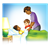 Caring for Sick Boy Color PNG