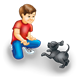 Boy Playing with black puppy