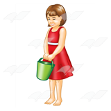 Girl Standing with Pail