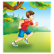 Boy Running Outside in red shirt