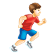 Boy Running with brown hair and red shirt