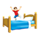 Boy in Red Shirt jumping on bed