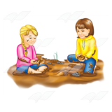 Girls Making Mud Pies