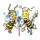 Singing Bees girl and boy with microphone and music notes