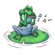 Frog Playing a Harmonica sitting on a lily pad with music notes