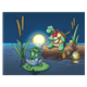 Turtle and Friends with instruments in moonlight