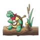 Turtle Playing a Banjo sitting on a log with cattails