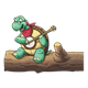 Turtle Playing a Banjo sitting on a log