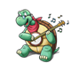 Turtle Playing a Banjo has music notes