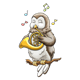 Owl Playing a French Horn sitting on a branch with music notes