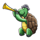 Turtle playing an unusual trumpet