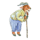 Goat Leaning on Cane wearing shirt and pants