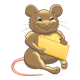 Chubby Brown Mouse holding cheese wedge