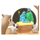 Nativity Scene Mary, Joseph, Jesus, sheep, cow, and background