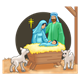 Nativity Scene Mary, Joseph, Jesus, sheep, and background