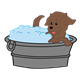 Dog Bath with dog and tub
