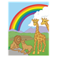 Rainbow of Promise with lions, giraffes, ark, and rainbow