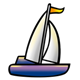 Purple Sailboat with orange flag and white sail