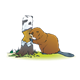 Beaver Gnawing on Tree