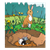 Rabbit and Burrow Color PNG