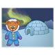Button Bear in parka with igloo, with the northern lights