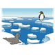 Icebergs with penguin and seal