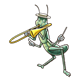 Grasshopper playing a trombone, wearing hat