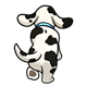 Back of Dalmatian with blue collar