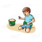 Boy Digging in Sand