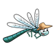 Dragonfly wearing hat