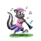 Skunk Playing a Clarinet while walking on grass, has music notes