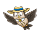 Flying Owl wearing hat and bolo tie