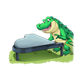 Crocodile Playing Piano on grass
