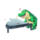 Crocodile Playing Piano music notes