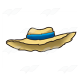 Straw Hat with Blue Band