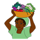 Kenyan Lady holding bowl of vegetables
