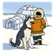 Eskimo with Husky in front of igloo