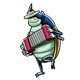 Beetle with hat and red accordion