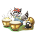 Raccoon Playing Drums hitting mole on head with drumstick