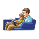 Dad and Girl reading Bible, on sofa