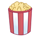 Full Popcorn Container red and white striped